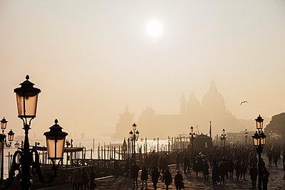 Basilica of Santa Maria della Salute in the mist from St. Marks Square, Venice, UNESCO World Heritage Site, Veneto, Italy, Europe - p871m1583803 by Christian Kober