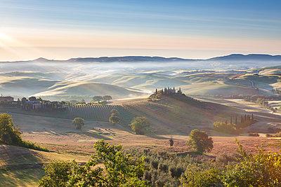 Belvedere and countryside at first light, San Quirico d'Orcia, Tuscany, Italy - p651m2271063 by Jeremy Flint photography