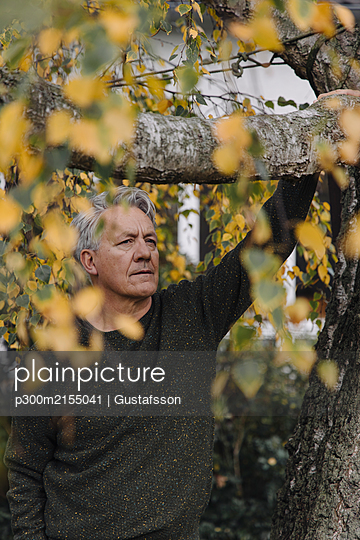 Portrait of a serious senior man at tree in garden - p300m2155041 by Gustafsson