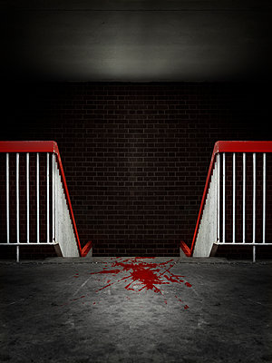 Blood stains in a staircase - p1280m2231999 by Dave Wall