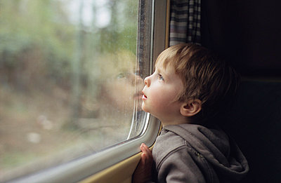Little boy in a train - p3660001 by Hartmut Gerbsch