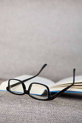 Book and glasses on a sofa - p4540860 by Lubitz + Dorner