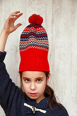 Red beanie - p249m924974 by Ute Mans