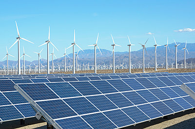 Photovoltaic solar panels and wind turbines, San Gorgonio Pass Wind Farm, Palm Springs, California, USA. This solar installation has a 2.3 MW capacity - p429m930366f by GIPhotoStock