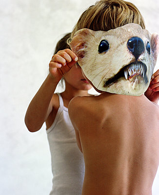 Two children with animal mask - p453m2172131 by Mylène Blanc