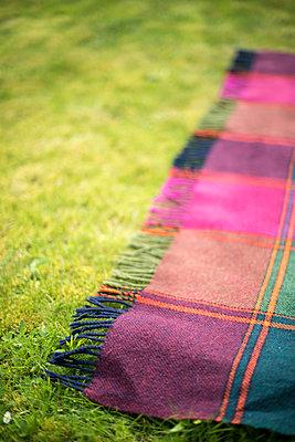 A woollen, tartan patterned throw on grass. - p1433m1589996 by Wolf Kettler