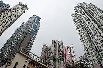 Hong Kong skyscrapers seen from below - p30120156f by Mark Gerum
