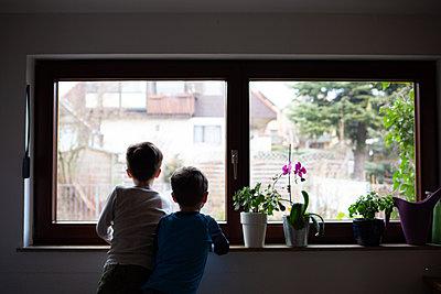 Jungen am Fenster - p1308m2229291 von felice douglas