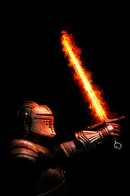 Medieval Knight with sword on fire - p1280m2278668 by Dave Wall