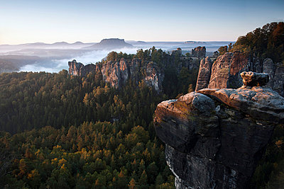 Morning at the Bastei, Elbe Sandstone Mountains, Saxon Switzerland National Park, Germany - p30120362f by Lothar Schulz