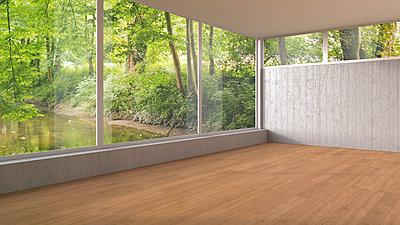 Empty room with panorama window and wooden floor, 3D Rendering - p300m1166537 by HuberStarke