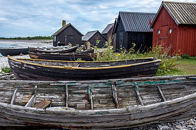 Old wooden boats at the seaside - p393m1115431 by Manuel Krug