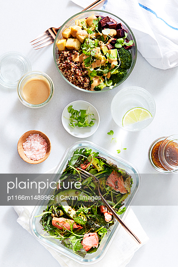 High angle view of food over white background - p1166m1489962 by Cavan Images