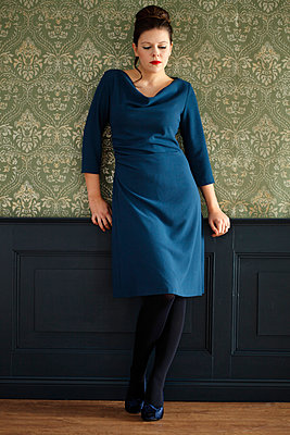 Woman in blue dress - p249m891110 by Ute Mans