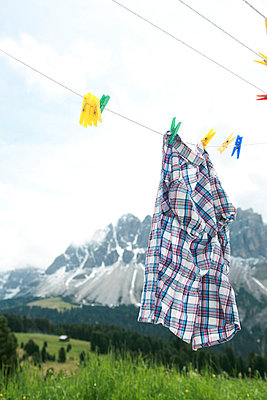 Clothesline in the mountains - p4410376 by Maria Dorner