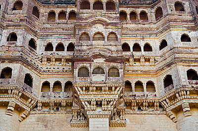 Colonnaded Elevated Walkways in Mehrangarh Fort in Jodhpur - p1072m941381 by chinch gryniewicz