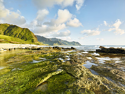 Scenic view of rocky shore at beach in Ka'ena Point State Park against sky - p300m2131780 by Christian Vorhofer