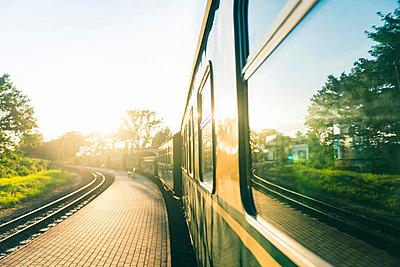 Rugen Island, Baltic coast, Mecklenburg-Western Pomerania, Germany. The historical Rugensche Baderbahn steam train called 'Rasender Roland'. - p651m2007344 by Marco Bottigelli