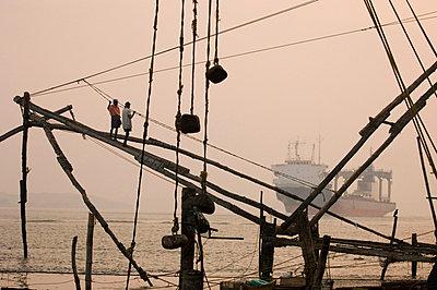 Chinese Fishing Nets, Cochin, Kerala, India - p8711355 by Neil Emmerson