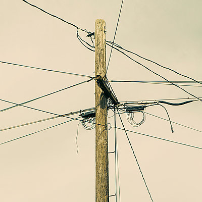 Telephone pole and power lines - p1100m888033f by Paul Edmondson