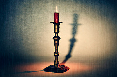 Antique bronze candelabra - p6200157 by M.A. Muñoz Pellicer