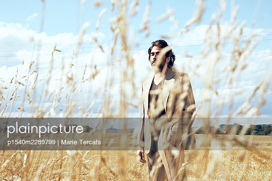 Man in a suit in a wheat field - p1540m2289799 by Marie Tercafs