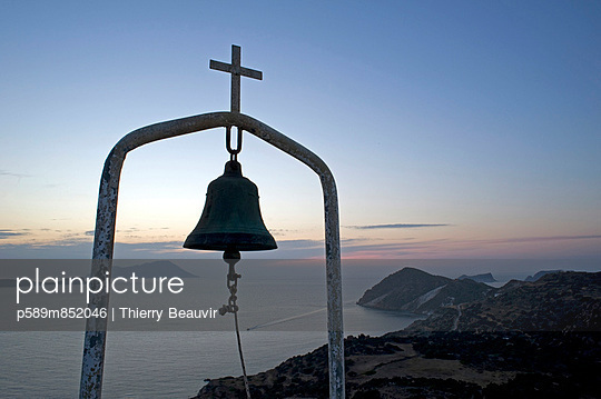 Bell and cross - p589m852046 by Thierry Beauvir