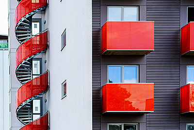 Facade of block of flats with staircase - p312m1570791 by Susanne Kronholm