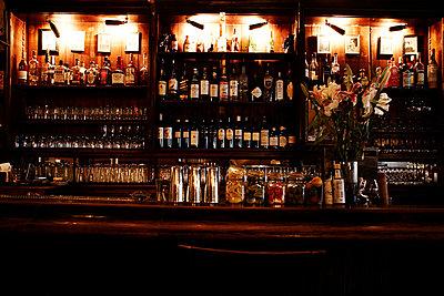 Bar With Shelves of Liquor Bottles - p694m663673 by Maria K