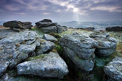 Frosted granite outcrop on Hayne Down, looking towards Hound Tor on the horizon, Dartmoor National Park, Devon, England, United Kingdom, Europe - p8713018 by Adam Burton