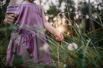 Midsection of girl holding dandelion while standing on field - p1166m1534194 by Cavan Images