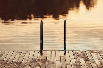 Swim ladder at lake - p312m1522014 by Johan Alp