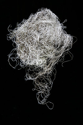 A mass of fine string that covered a football in a tangle of lines set on a black studio backdrop. The photograph is a stack of multiple images merged together - p1057m2110477 by Stephen Shepherd