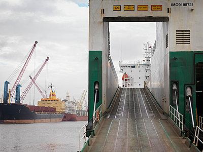Ramp On To Ship At Port - p4296827f by Monty Rakusen
