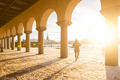 Arched columns of City Hall in Stockholm, Sweden - p352m1536578 by Calle Artmark