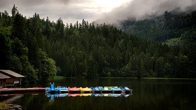 Pedal boat rental at Lake Spitzingsee - p1154m1217537 by Tom Hogan