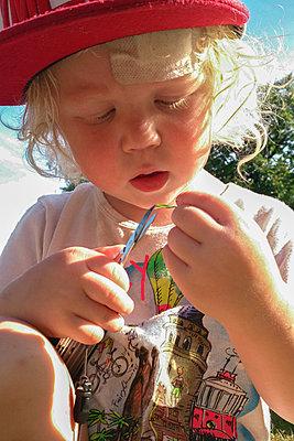 Little boy cutting blade of grass with scissors - p1418m2013801 by Jan Håkan Dahlström