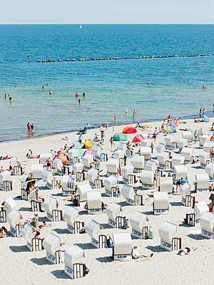 People in beach booth at Island of Rugen - p300m660033f by Leon Fischer