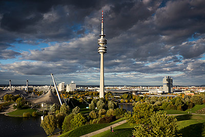 Germany; Bavaria; Munich; View of BMW World and Olympic Tower - p300m919775 by Dieter Heinemann