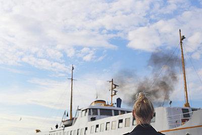 Ship and girl - p1063m1031544 by Ekaterina Vasilyeva