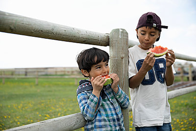 Cute boys eating watermelon on farm fence - p1192m2109708 by Hero Images