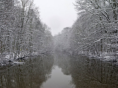River in a winterly landscape - p4902811 by Jan Mammey