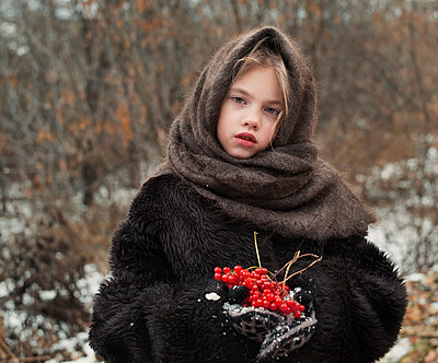 Girl with Red Berries - p1476m1541392 by Yulia Artemyeva
