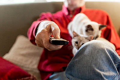 Senior man with kittens siiting on sofa holding remote control - p300m2139912 by VITTA GALLERY