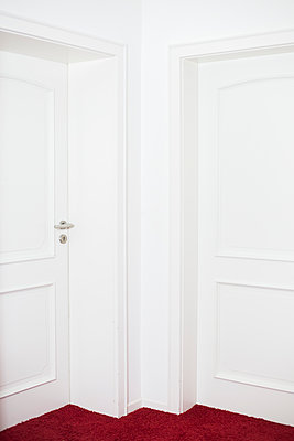 Two white doors - p1621m2231917 by Anke Doerschlen