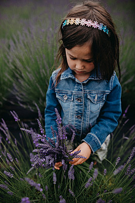High angle view of girl holding lavenders while standing on field - p1166m1534186 by Cavan Images