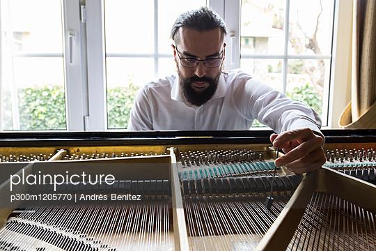 Piano tuner tuning grand piano - p300m1205770 by Andrés Benitez
