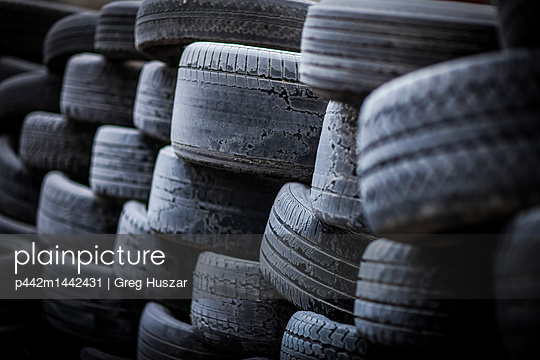 A pile of old, worn tires; Regina, Saskatchewan, Canada