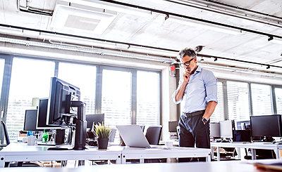 Mature businessman looking at laptop on desk in office - p300m1568077 von HalfPoint