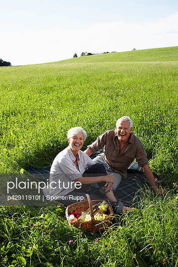 Senior couple having picnic